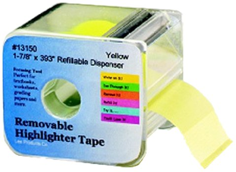 (Lee Products Co. 1 7/8-Inches Wide 393-Inches Long Removable Highlighter Tape with Refillable Dispenser, Yellow (13150))