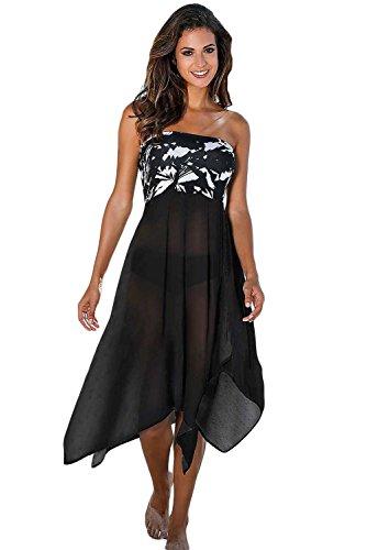 Nuevas señoras blanco y negro Cover Up vestido Genie estilo Maxi falda de baño playa verano desgaste tamaño M UK 8–�?2