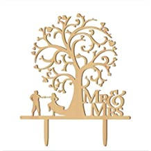 Mr and Mrs Cake Topper Wood Wedding Cake Topper Funny Bride and Groom with Blossom Tree Rustic Cake Topper¡­