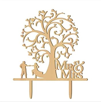 Mr And Mrs Cake Topper Wood Wedding Funny Bride Groom With Blossom Tree