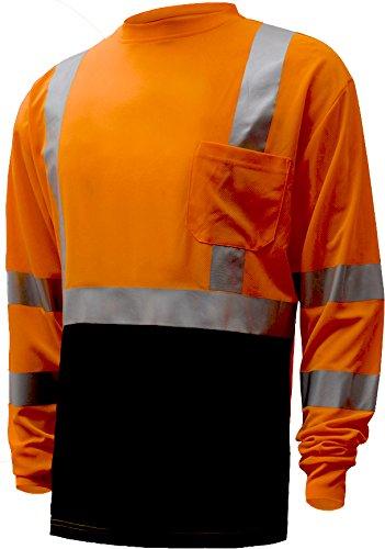 Large ERB 64043 ANSI Class 3 Long Sleeve T-Shirt 9804S Orange//Black