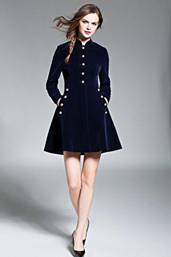 Winter Herbst Kleid aus Marineblaue Minikleid Langarm Damen Partykleider Kurz Cord Skatekleider Elegant Jacke 45vZnxn
