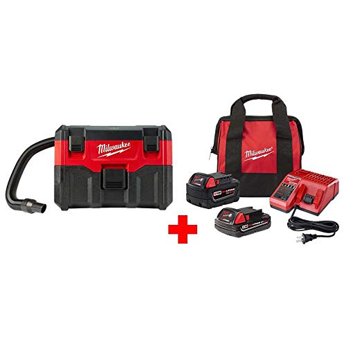 Milwaukee M18 18-Volt 2 Gal. Lithium-Ion Cordless Wet/Dry Vacuum Starter Kit with One 5.0 Ah and One 2.0 Ah Battery, Bag, Charge ()