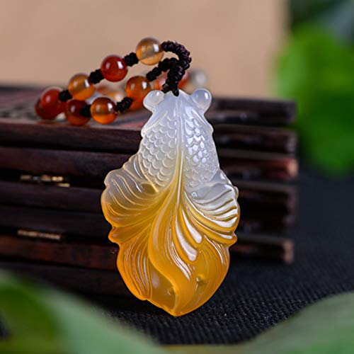 Chalcedony Gold Fish Jade Necklace Pendant Hand Carved Lucky Blessing Necklace Pendant