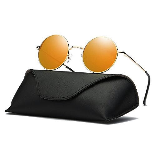 Ray Parker Fashion Classic Vintage UV Protection Round Mirrored Polarized Lens Sunglasses for Men RP8024 With Gold Frame/Orange Mirrored - Round Orange Sunglasses