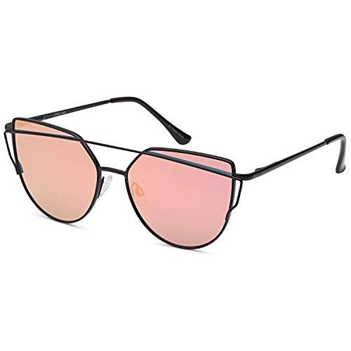 QINKY Womens Cat Eye Aviator Metal Frame Cross Bar Sunglasses with Mirror Flash Flat - Lens Flash Aviators