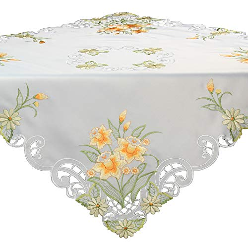 Quinnyshop Easter Daffodil Narcissus Embroidery Tablecloth Table Overlay Approx. 34-inch-by-34-inch / 85 x 85 cm Satin-Look, White