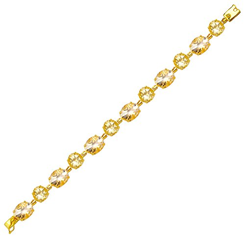 Orchid Jewelry Natural Citrine Gemstone Birthstone 10k Gold Over Sterling Silver Women's Tennis Bracelet