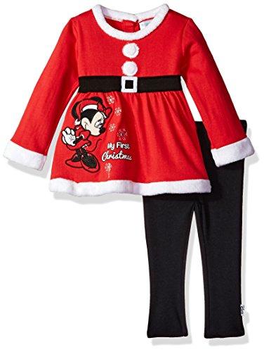 Disney Baby Girls' Minnie Mouse Santa Set, True red, 24M