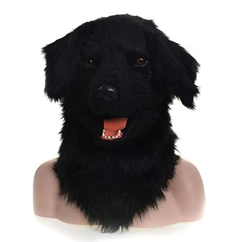 Halloween Animal Masks Moving Mouth Mask Black Dog Animal Mask Animal Carnival Face Mask (Color : Black, Size : 2525) -