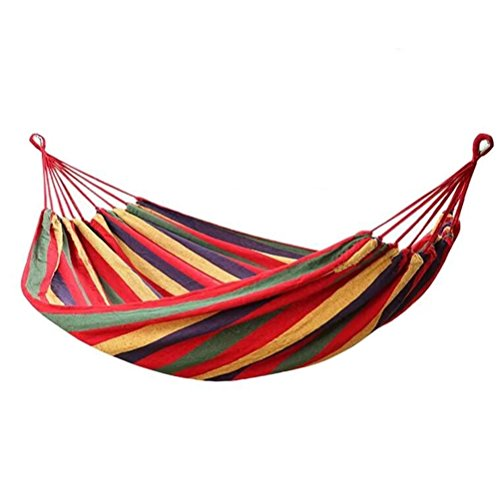 Hammock Natural Brazilian (TCH Wind Classic Cotton Hammock-Colorful Multifunctional Striped Cotton Fabric 1 Person Brazilian Style Hammock)