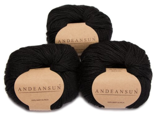 100% Baby Alpaca Yarn Skeins - Set of 3 (Black) - AndeanSun - Luxuriously Soft for Knitting, Crocheting - Great for Baby Garments, Scarves, Hats, and Craft Projects - Black (Yarn Knitting Black)