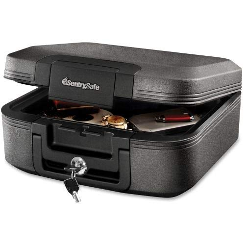 - SentrySafe Waterproof Fire-Resistant Chest, 0.28ft3, 15 2/5wx14 3/10dx6 3/5h, Charcoal Gray