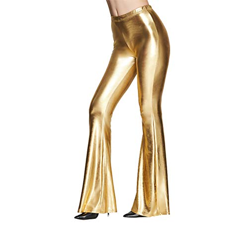 Women Metallic Shiny Flare Pants Wide Leg Long Leggings High Waisted Slim Fit Bell Bottoms Wet Look Faux Leather Casual Bootcut Trousers Stretch Yoga Pants Vintage 70s Disco Dance Clubwear Golden XXL -