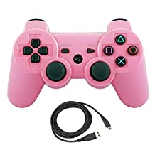 Bowink Wireless Bluetooth Controller For PS3 Double Shock - Bundled with USB charge cord (Pink)