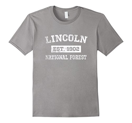 Mens Lincoln National Forest T Shirt Est  1902 Distressed Large Slate