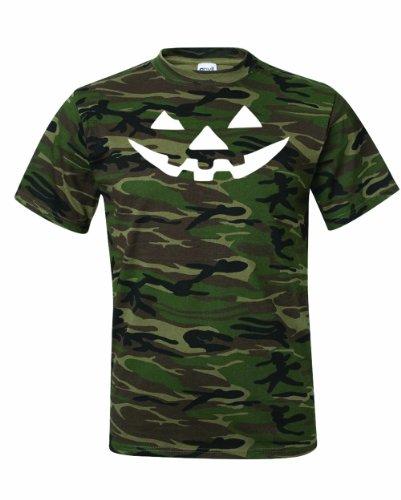 New Green Lantern Costumes Tshirt (Men's JACK-O-LANTERN. Halloween Pumpkin Smily Face Costume. T-Shirt-Camo Green-2X)