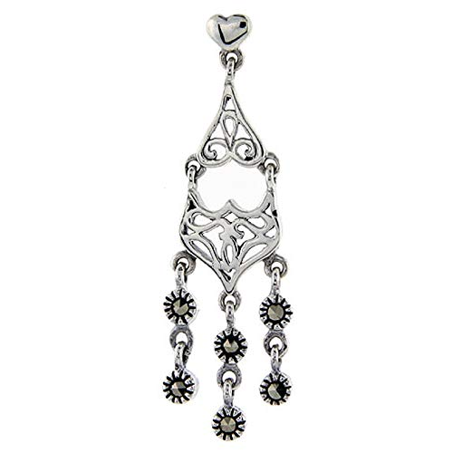 (Sterling silver Marcasite chandelier Dangle Drop Earrings 2 Tiered Fleur de Lis 1 3/4 inch long)