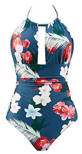 B2prity Women's One Piece Swimsuits Tummy Control Swimwear V Neck Bathing Suits