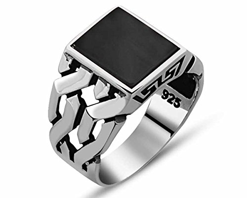 (Chimoda Mens Silver Ring with Black Onyx Stone in 925 Sterling Turkish Handmade Jewelry Men's Rings (12.5))