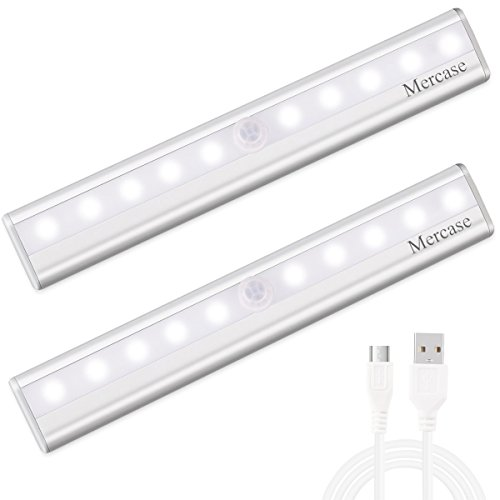 Motion Sensor Closet Light Rechargable 10 LED Under Cabinet Lighting Bar Removable Magnetic Strip Night Light for Bedoom Kitchen and Bathroom