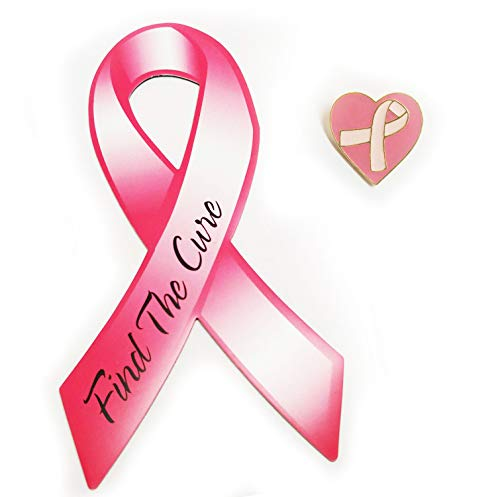 Pink Ribbon Heart Pin - Pink Ribbon Find The Cure Car Magnet + Breast Cancer Awareness Heart Lapel Pin Set
