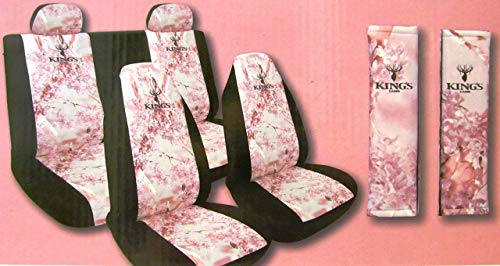 - Kings Camo Pink 5 Piece Camoflauge Universal Seat Covers Bench Bucket