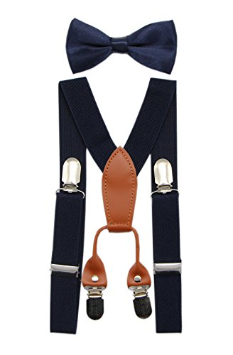 JAIFEI Toddler Kids 4 Clips Adjustable Suspenders and Matching Bow Tie Set (Navy) (Navy Set Money Clip)