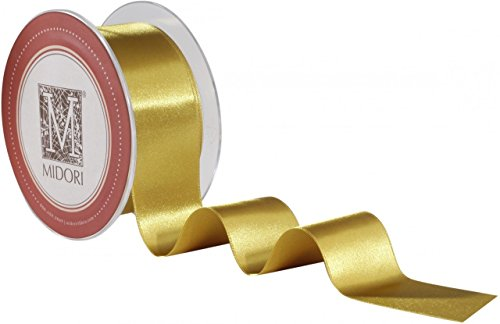 Satin Midori Ribbon - Double Faced Satin Ribbon - Imperial Gold - Holiday Gold Ribbon (3/8
