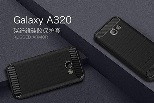 Funda Samsung Galaxy A3(2017),Alta Calidad Anti-Rasguño y Resistente Huellas Dactilares Totalmente Protectora Caso de Cover Case Material de fibra de carbono TPU Adecuado para el Galaxy A3(2017) E