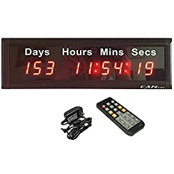 GANXIN 1-inch High 9 Digits LED Days Wall Clock, with Big Events Almost 1000 Days Countdown/up Multifunctional Digital Timer, 12/24-Hour Real Time Clock by Remote Control, Red Color