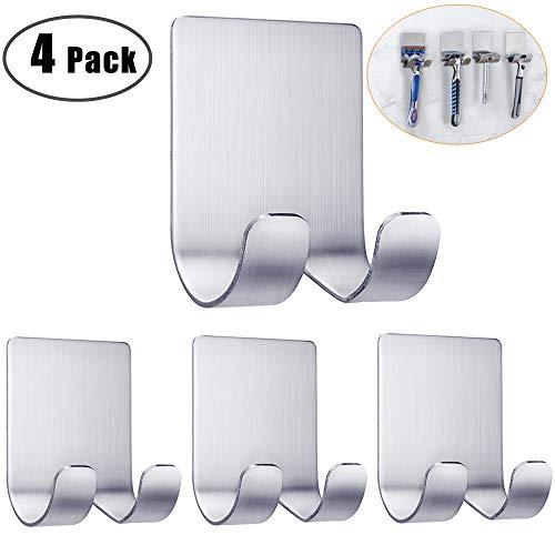 (Razor Holder For Shower Self Adhesive Hooks Wall Hanger Stainless Steel Shower Shave Razor Hook Stand Bathroom Kitchen Organizer for Razor Plug Robe Towel Loofah Bathrobe Coat-4 Packs)