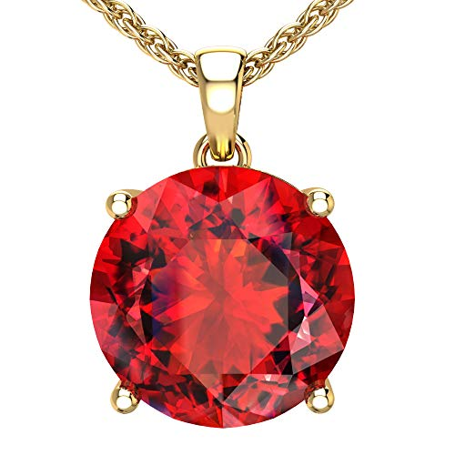 Belinda Jewelz 14k Rhodium Plated Yellow Gold Round Gemstone Sparkling Rope Chain Sterling Silver Birthstone Fine Jewelry Classic Womens Hang Pendant Necklace, 4.2 Carat Created Ruby, 18 Inch