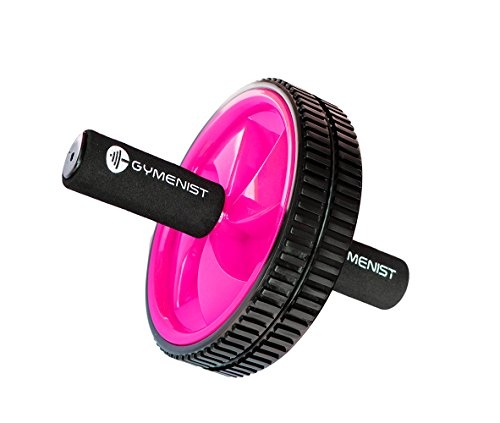 GYMENIST Abdominal Exercise Ab Wheel Roller with Foam Handles, Great Grip, Double Wheels, Top Professional Quality (Pink)