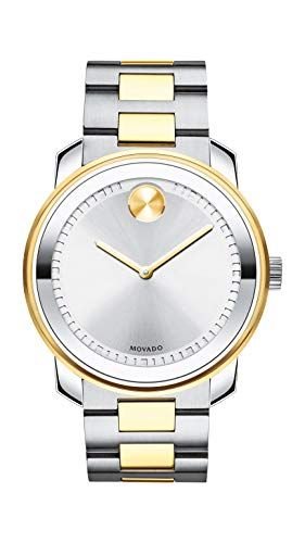 Movado Men's BOLD Metals Two-Tone Watch with a Printed Index Dial, Silver/Grey/Gold (3600431) (Movado Bracelet Gold)