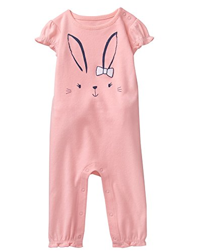 Gymboree Baby Girls Short Sleeve Long One-Piece, Bunny Ruffle Pink, 0-3 Mo