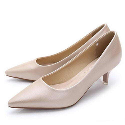 Aalardom Femmes Solides Kitten-talons Pointus Toe Pompes À Enfiler-chaussures Nude-pu