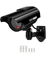 AlfaView Dummy Security Camera Solar Powered Bullet Fake Surveillance Camera CCTV Dome Camera Simulation Monitor with LED Flashing Light for Outdoor/Indoor,Home/Business (Black-1 Pack)