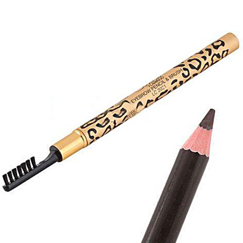 whatBYDs Eyebow Pencil Waterproof Leopard Shell Brown Eyebrow Pencil with Brush Make Up CosmeticTool