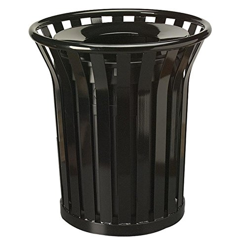 Rubbermaid Commercial Americana Open-Top Trash Can with Rigid Plastic Liner, 36 Gallon, Black, FGMT32PLBK by Rubbermaid Commercial Products