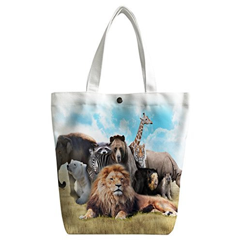 SXCHEN Custom Women Canvas Bags Shoulder Bag Handbag Lunch Bag African Animals Lion Elephant Zebra