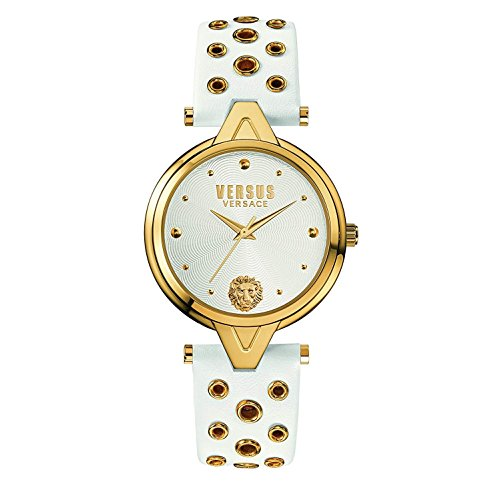 Versus by Versace Women's 'V Versus eyelets' Quartz Stainless Steel and Leather Casual Watch, Color:White (Model: SCI040016)