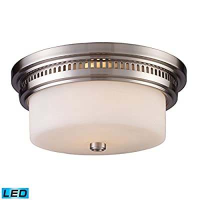 ELK 66121-2-LED, Chadwick Round Glass Flush Mount Ceiling Lighting, 2 Light LED, Satin Nickel