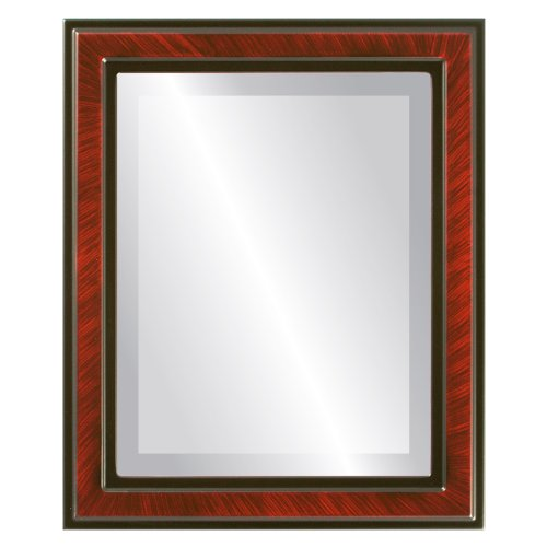 Rectangle Beveled Wall Mirror for Home Decor - Wright Style - Vintage Cherry - 26x32 outside dimensions by Oval And Round Mirrors