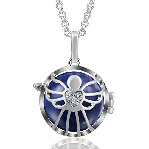 AEONSLOVE Women Harmony Ball Chime Bola Czech Rhinestuds Pendant Necklace Baby Angel Guardian Jewelry (Dark Blue) ()