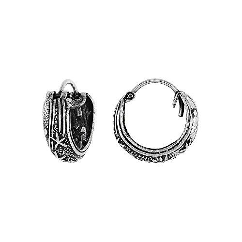 Sterling Silver 'Celestial Bodies' Bali Huggie Hoop Earrings, 1/2 inch diameter