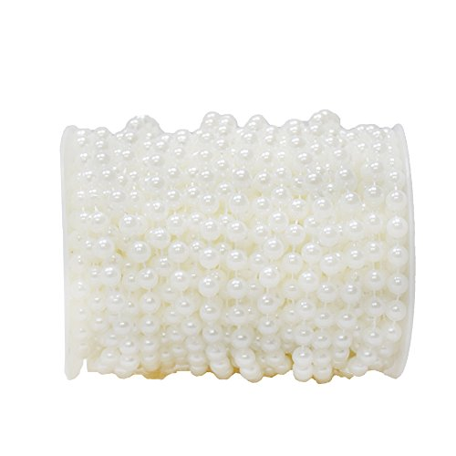 BoJia 99ft ABS 6mm Crystal Beads,Headdress Beads,Wedding Faux Pearls Beads, Wedding Garland,The Environmental Bead for Your Lovely Toys,Decorate Your Purse(30 Meter) ()