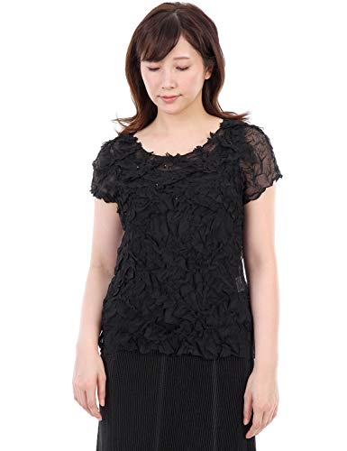 SPECCHIO PLEATS G-Pleats Motif and Sequins Embroidery Short Sleeve top, Origami Blouse Womens Black
