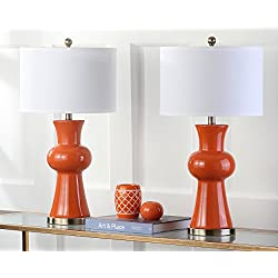 Safavieh Lighting Collection Lola Column Orange 30-inch Table Lamp (Set of 2)