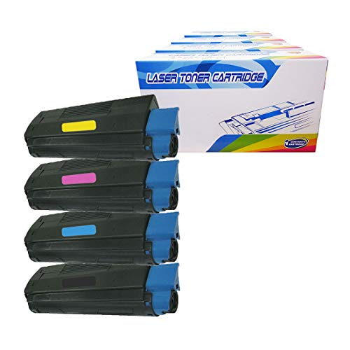 Inktoneram Compatible Toner Cartridges Replacement for Okidata C3100 43034804 43034803 43034802 43034801 ([Black,Cyan,Magenta,Yellow],4-Pack) 43034803 Cyan Laser Toner